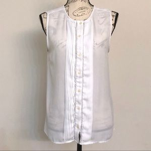 Banana Republic White Button Front Sleeveless Top